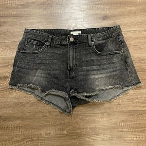 H&M Faded Black High Rise Shorts